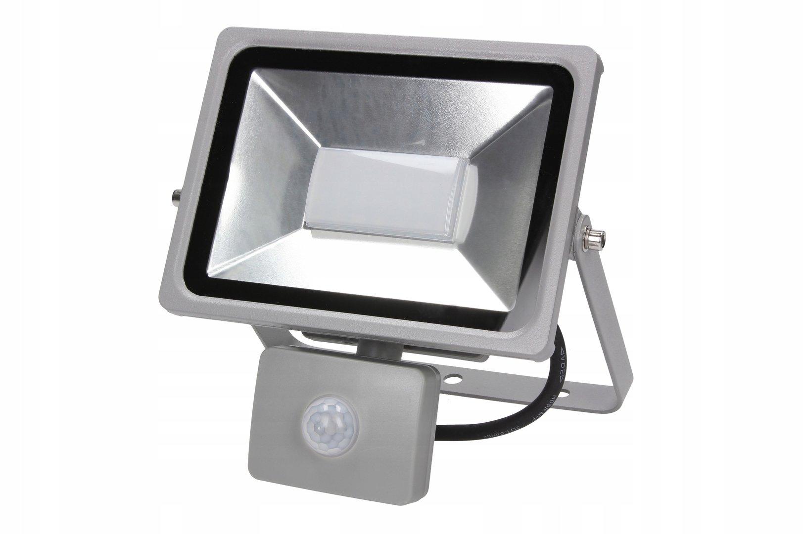 50 watt led flutlicht silber led fluter 50w 4500lm mit bewegunsmelder. Black Bedroom Furniture Sets. Home Design Ideas