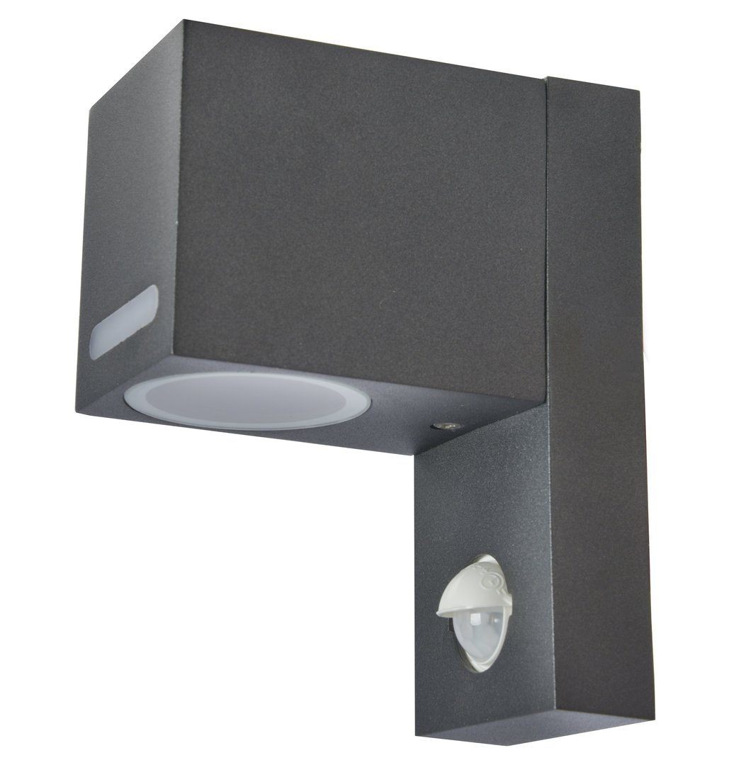 led au enwandlampe mit bewegungsmelder aluminium schwarz silber ip44 qr1268. Black Bedroom Furniture Sets. Home Design Ideas