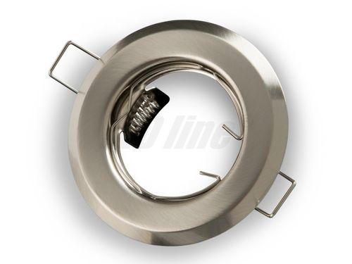 LED Einbaustrahler, LED Einbauspot Spot Rund Metall Nickel für 50mm LED Lampen + GU10 Fassung