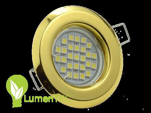 SET: Rund Einbauspot Metall Gelb + GU10 4W LED KALTWEISS
