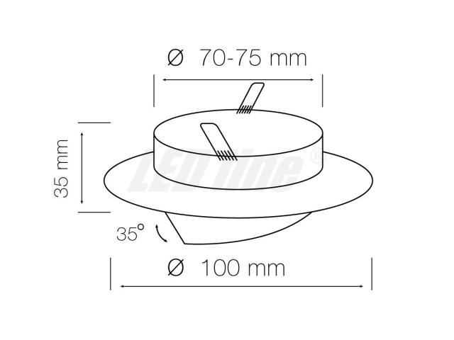 SET: Schwenkbar Rund Einbauspot Metall Gelb + GU10 4W LED KALTWEISS