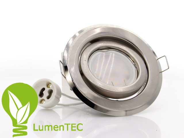 SET: Schwenkbar Rund Einbauspot Metall Nickel + GU10 6W LED WARMWEISS