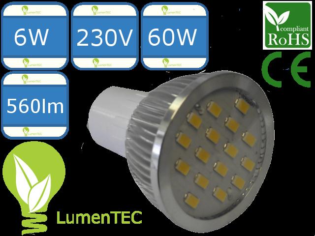 SET: Schwenkbar Rund Einbauspot Metall Gelb + GU10 6W LED WARMWEISS
