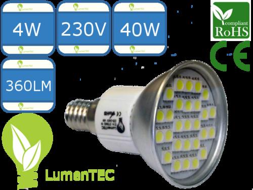 E14 LED LAMPE 4W JDR, 27 (5050) SMD LED 230V 360LM, Kaltweiss