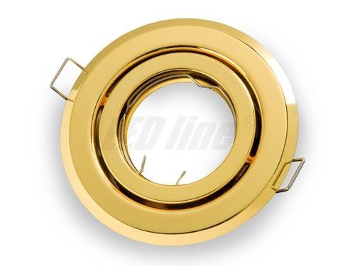 LED Einbaustrahler, LED Einbauspot Spot Rund Metall Gelb für 50mm LED Lampen + GU10 Fassung