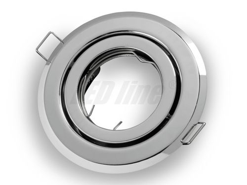 LED Einbaustrahler, LED Einbauspot Spot Rund Metall Chrom für 50mm LED Lampen + GU10 Fassung