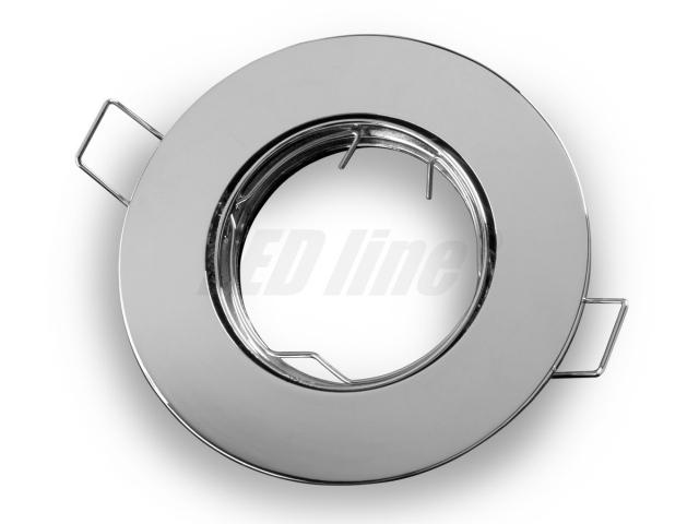 LED Einbaustrahler, LED Einbauspot Rund Aluminium Chrom für 50mm LED Lampen + GU10 Fassung