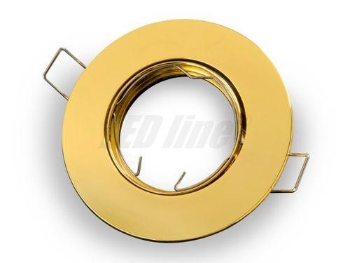 LED Einbaustrahler, LED Einbauspot Rund Aluminium Gelb für 50mm LED Lampen + GU10 Fassung