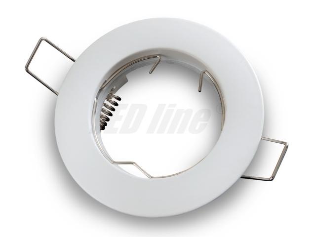 LED Einbaustrahler, LED Einbauspot Rund Aluminium Weiss für 50mm LED Lampen + GU10 Fassung