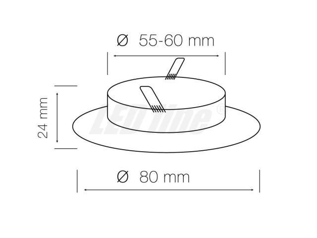 LED Einbaustrahler, LED Einbauspot Rund Aluminium Nickel für 50mm LED Lampen + GU10 Fassung