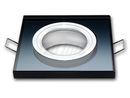 LED Einbaustrahler, LED Deckenspot, Quadratisch Glas Deckenstrahler + GU10 Fassung (SCHWARZ)