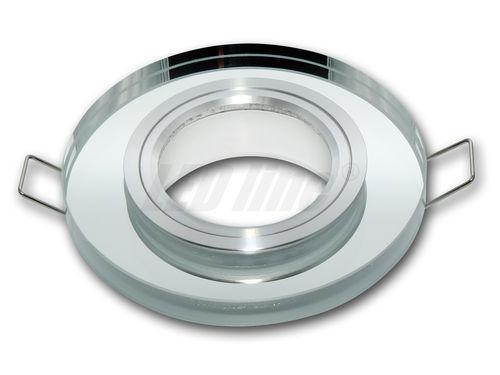 LED Einbaustrahler, LED Deckenspot, Rund Glas Deckenstrahler + GU10 Fassung (SILBER)