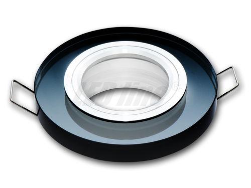 LED Einbaustrahler, LED Deckenspot, Rund Glas Deckenstrahler + GU10 Fassung (SCHWARZ)