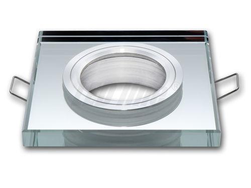 LED Einbaustrahler, LED Deckenspot, Quadratisch Glas Deckenstrahler + GU10 Fassung (SILBER)