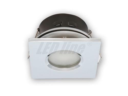 Bad Einbaustrahler, Einbauspot, Aqua Deckenleuchte, Alu Quadratisch Chrom IP65 für LED Lampe