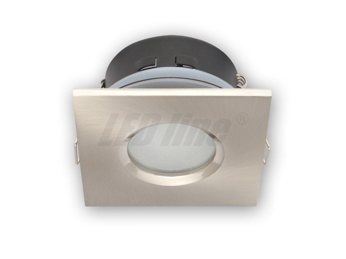 Bad Einbaustrahler, Einbauspot, Aqua Deckenleuchte, Alu Quadratisch  Satin/Nickel IP20 für LED Lampe