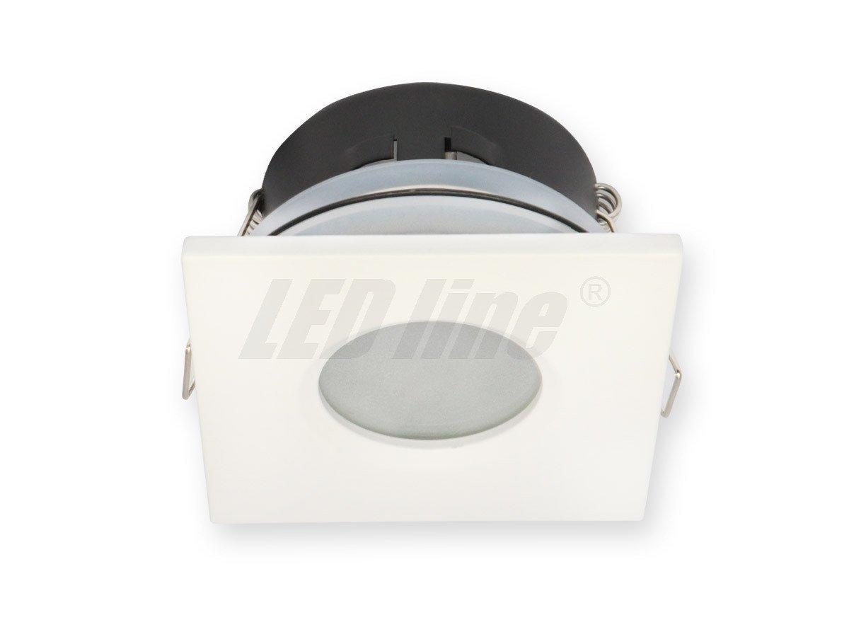 Bad Einbaustrahler, Einbauspot, Aqua Deckenleuchte, Alu Quadratisch Weiss  IP20 für LED Lampe,