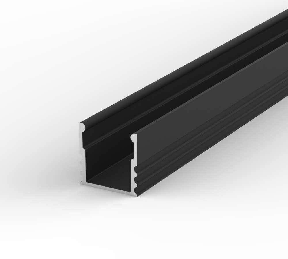 100cm Aluminium LED Profil für LED Streifen Schwarz LT5 + Abdeckung