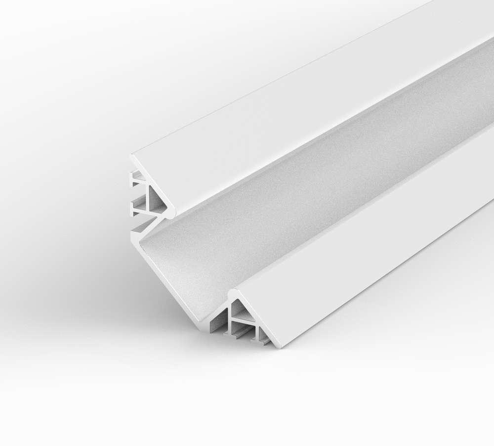 Aluminium Eckig LED Profil, 100cm 45° für 8-12mm Streifen, Weiss ...